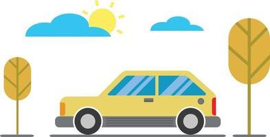 Cartoon Car, Trees, Clouds and Sun Flat Design Environment vector