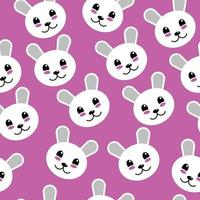 Cute Happy Teddy Bear Face Seamless Background Pattern vector