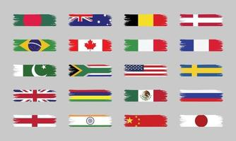 World Country Brush Stroke Flags vector