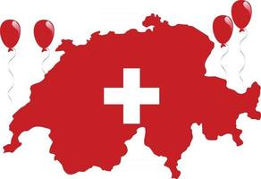 Switzerland Red Map and Flag with White Cross vector