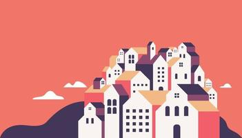 Flat geometric buildings, Minimal city landscape flat style banner. vector