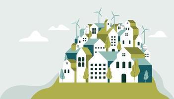 Flat geometric buildings, Eco city landscape flat style banner. vector