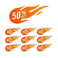 Sale Discount Banner. Discount offer price tag. Special offer sale hot fire sign, promotion fire banner, price tag, hot sale, offer, price. vector