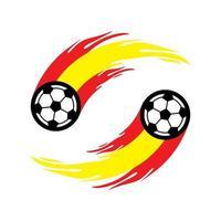 fútbol o fútbol con cola de fuego en la bandera de españa. vector
