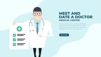 Doctor holding a check up paper and pointing by index finger. Health check up banner. vector