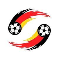 fútbol o fútbol con cola de fuego en la bandera de Alemania. vector