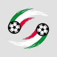 fútbol o fútbol con cola de fuego en la bandera de Italia. vector