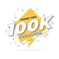Thank you 100,000 followers trendy flat geometric banner. vector