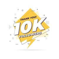Thank you 10,000 followers trendy flat geometric banner. vector