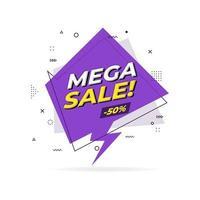 Mega sale trendy flat geometric banner. Mega sale label in Memphis design style. vector