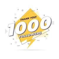 Thank you 1,000 followers trendy flat geometric banner. vector