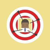 African businessman photo on dart board stick by arrow. vector