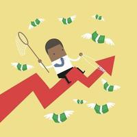 Gráfico de flecha de éxito de equitación empresario africano tratando de atrapar mosca de dinero. vector