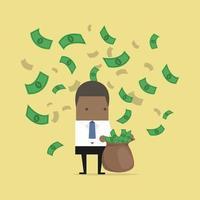 empresario africano cogiendo dinero en un saco. vector