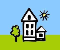 house color childrens illustration vector