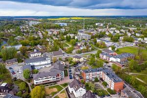 view from above of the Dobele city, city center buildings, streets and parks, Latvia photo