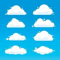 Flat cloud illustration collection. Cute cartoon cloud set. vector
