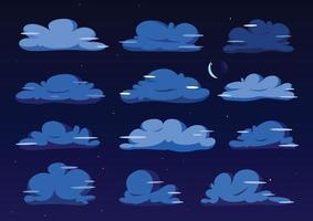Night Flat cloud illustration collection. Cute cartoon cloud set. vector