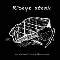 Hand drawn sketch ribeye steak. Food element for menu design vector