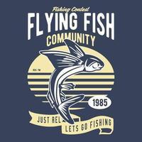 Flying Fish, Badge, Tshirt Design vector