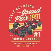 Formula Car Race Vintage Badge Design vector