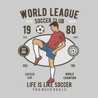 diseño de insignia vintage de la liga mundial soccoer vector