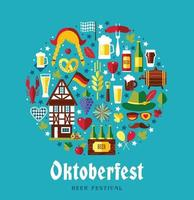 Flat design vector set icons with oktoberfest celebration symbols. Oktoberfest celebration design with Bavarian hat and autumn leaves and germany symbols