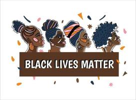 Black Livwe Matter poster with beautiful African-american women Line art style minimalism style We are Woman concept illustration. vector