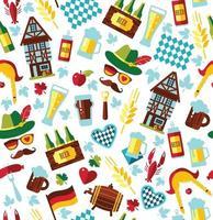 Seamless pattern with oktoberfest celebration symbols. Vector illustration. Flat design.