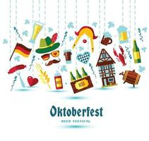 Flat design vector illustration with oktoberfest symbols. Oktoberfest celebration design with Bavarian hat and autumn leaves.