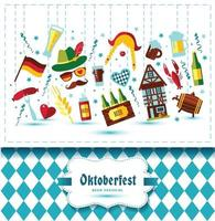 Flat design vector illustration with oktoberfest celebration symbols. Oktoberfest celebration design with Bavarian hat and autumn leaves and germany icons on blue background.