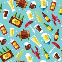 Seamless pattern with beer symbols on blue background. Vector illustration. Flat design.