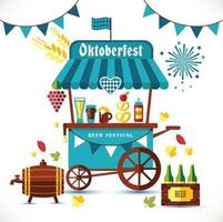 Beer festival illustration of tent with goods. vector