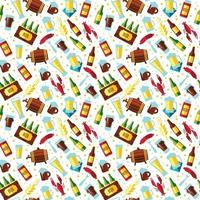 Seamless pattern with beer symbols on white background. vector