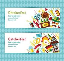 Flat design vector banners set with oktoberfest celebration symbols. Oktoberfest celebration design with Bavarian hat autumn and germany symbols.