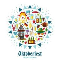 Flat design vector illustration with oktoberfest celebration symbols. Oktoberfest celebration design with Bavarian hat and autumn leaves