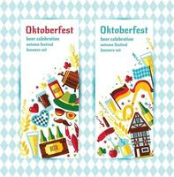 Flat design vector banners set with oktoberfest celebration symbols. Oktoberfest celebration design with Bavarian hat and autumn and germany symbols.