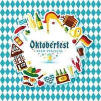 Flat design vector illustration with oktoberfest celebration symbols. Oktoberfest celebration design with Bavarian hat and autumn and germany symbols.