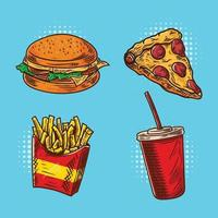 Fast Food Hand Drawn Color Set vector