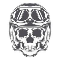 Vector Skull with vintage helmet biker