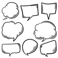 collection of a Dooddle black speech bubbles hand drawn cartoon vector