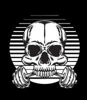 Vintage bodybuilder skull with barbell vector
