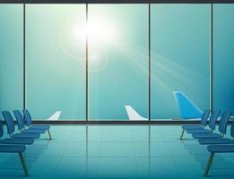 aviones en el aeropuerto en las ventanas de la sala de espera vector
