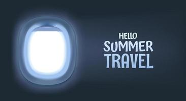 Vector banner with airplane empty window and logo. Hello summer travel