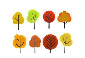 Different color autumn trees vector clipart. Cartoon style 3d illustration