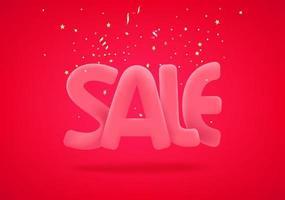Sale banner with golden confetti vector