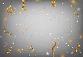 cintas de oro volando y fondo de confeti. plantilla de marco de aniversario vector
