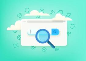 Search in internet. Concept with cute 3d style and doodle vector elements