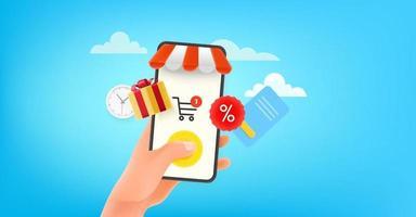 Man using online shop via modern smartphone. Horizontal banner vector