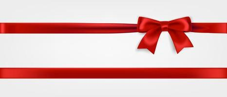 Red ribbon and bow realistic illustration vector